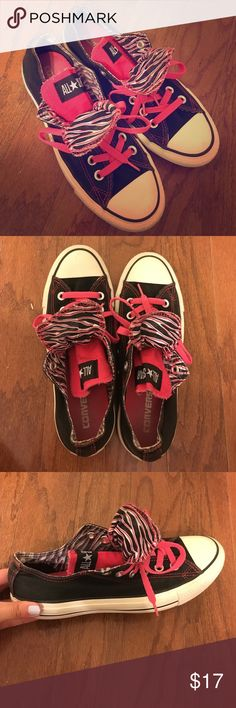 Converse Chuck Taylor Double Tongue (Zebra) Worn a couple times - minor scuffs and minor wear on the bottom. Converse Shoes Athletic Shoes