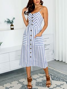 Style:Fashion Pattern Type:Striped Polyester Neckline:U-Neck Sleeve Style:Spaghetti Strap Length:Mid-Calf Occasion:Casual Package Dress Note: There might be difference. Striped Dress Outfit, Dress Outfits, Casual Dresses, Casual Outfits, Fashion Dresses, Stripe Dress, Trend Fashion, Style Fashion, Summer Outfits
