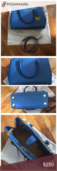 Michael Kors Sm Sutton Satchel Heritage Blue Michael Kors small Sutton Satchel. Heritage blue. Comes with dustbag, care card, and removable shoulder strap. Gold hardware. Purchased from the Michael Kors in my mall last year. Excellent condition looks new, barely ever used. No rips, tears, or stains. Price is firm! Michael Kors Bags Satchels