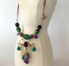 Turquoise Boho Necklace Natural Gemstones Amethyst Pyrite Turquoise Statement Necklace Turquoise Bohemian Necklace Gemstone Boho Jewelry by BeadIndulgences on Etsy