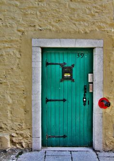 Turquoise door #39 in Quebec City, Quebec, Canada~