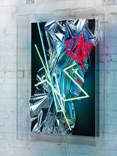 ANSELM REYLE Untitled 2011 mixed media on canvas, neon, cable, acrylic glass 135 x 92 x 26 cm