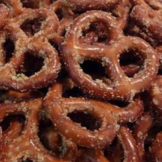 My sisters mother in law made us some marinated pretzels for Christmas this year and they were divine. Needless to say i scoured the internet and found these because I didn't want to ask her for her family recipe. I did substitute the 3/4 cup olive oil with 3/4 cup Orville Redenbachers buttery popcorn oil. DELICIOUS!