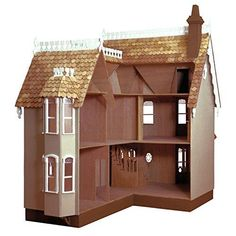 Wooden Dollhouse Kits, Dollhouse Furniture Kits, Diy Dollhouse, Victorian Dollhouse, Beacon Hill Dollhouse, Brown Bottles, Curved Staircase, Table Centers, Unfinished Wood