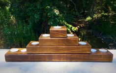 Wood Candle Holder Tea light candle Centerpiece by WarmthofWoodTx
