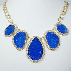 Hot Sale Royal Blue Druzy Drop Stone Statement Necklace, Gold Tone Crystal Rhinestone Drusy Bib Necklace-122407953