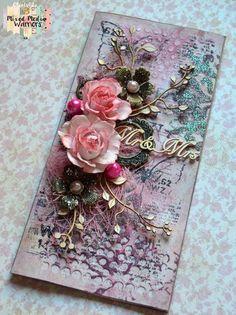 Kartka mediowa z kwiatami z foamiranu
