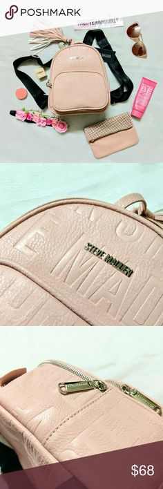 NWT Steve Madden Blush Logo Backpack 💠NEW WITH TAG  💠100% Authentic  💠NO TRADE  💠ACCEPT Reasonable Offer Only  💠Inside: has a few pockets to store stuff  💠BACKPACK ONLY. Other accessories are NOT included Steve Madden Bags Backpacks