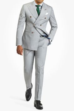 Agani - Light Grey Pinstripe Double Breasted Suit – Suits – Clothing