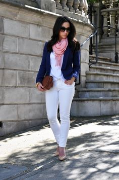 Navy Blazer, White Top and Jeans, Nude Shoes and a Pink Scarf (PHOTO ONLY  Abandoned Web Site)