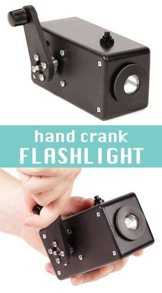 This hand crank flashlight charges a supercapacitor to power an LED when you turn the crank. In fact, the hand crank system provides enough power that you can also power the LED directly if the capacitor has run out of charge.
