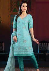 Light Teal Blue Cotton Churidar Kameez