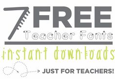 Free fonts help me create my classroom resources. Here are 7 free teacher fonts that I've made, all collected in one place. There is a Zaner-Bloser style font, two handwriting fonts and some funky, fun fonts.