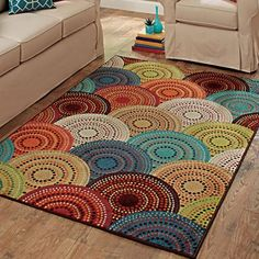 Better Homes and Gardens Bright Dotted Circles Olefin Rug