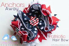 Anchors Away Patriotic Hair Bow - The Ribbon Retreat Blog