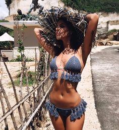 Set 2pcs Bikini Crochet Gypsy Boho Ethnic Fringes Swimwear Archange MA625