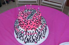 Pink Zebra print / leopard print cake.  Animal print.