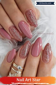 Trendy Ombre Nails Design Ideas That Look Elegant .- Trendy Ombre Nails Design-Ideen, die elegant aussehen werden 2019 – Lackieren Trendy Ombre Nails Design Ideas That Will Look Elegant 2019 – Varnishing – – - Valentine's Day Nail Designs, Nail Designs Pictures, Ombre Nail Designs, Nails Design, Mauve Nails, Pink Nails, Girls Nails, Bridal Nail Art, Nail Decorations