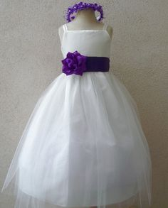Flower Girl Dress - IVORY Tulle Dress (Double Straps) with Purple EGGPLANT Sash - Easter, Junior Bridesmaid, Wedding - Baby to Teen (FGRP2I)