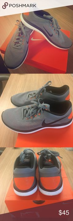 Nike 👟 men's sneakers Nike men's 10.5 fit sole sneakers. Gray and orange. Very lightly worn. Nike Shoes Sneakers