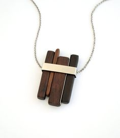 Valentine's day sale - 20% - LINE 1 pendant.  Ambuia wood and palladium-plated elements.. $70.00, via Etsy.