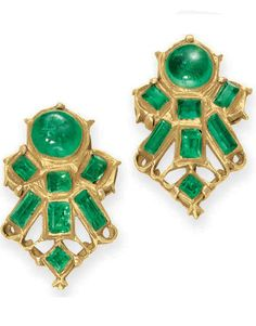 A PAIR OF ANTIQUE EMERALD AND GOLD EAR CLIPS.Each set with a cabochon emerald, extending a fan of baguette and square-cut emeralds, enhanced by sculpted gold trim, mounted in gold, late eighteenth to early nineteenth century, foil-backed.