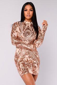 Talitha Sequin Dress - Rosegold