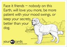 Funny Encouragement Ecard: Face it friends ~ nobody on this Earth, will love you more, be more patient with your mood swings, or keep your secrets better than your dog.