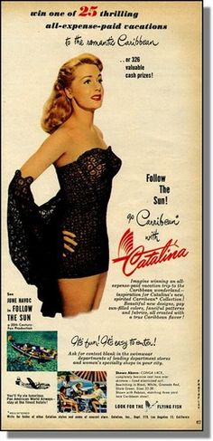 1951 Movie Star June Havoc Sexy Catalina Swimsuits Sweepstakes Photo Ad | eBay Vintage Ads, Vintage Shops, Vintage Beach Party, Vintage Swimsuits, Famous Women, Classic Hollywood, Movie Stars, Strapless Dress Formal, Vintage Fashion