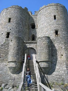 Harlech Castle, located in Harlech, Gwynedd, Wales, is a medieval fortification, constructed atop a spur of rock close to the Irish Sea. It was built by Edward I during his invasion of Wales between 1282 and 1289 at the substantial cost of £8,190.