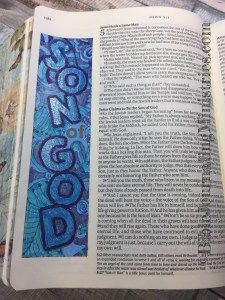 Today, I spent some time doing a Bible Journaling entry in the book of John. I did this entry in shades of blue gel pens.