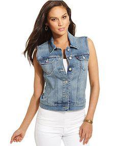 Levis Vest, Sleeveless Denim, Honestly Worn Wash - Jackets & Blazers - Women - Macys