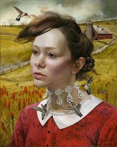 Andrea Kowch - her thoughts they hum - acrylic on canva