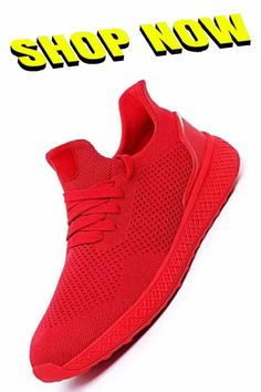 Running Shoes For Men - Espiaye Apparel Genuine Men's Lightweight Outdoor Running Shoes 2020 Breathable Stretch-Fit Sneakers Best Running Shoes, Red Shoes, Summer Shoes, Nike Free, Sneakers Nike, Fitness, Outdoor, Fashion, Red Dress Shoes