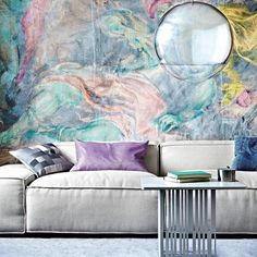 A watercolor mural featured in 5 Resurrected Old-World Interior Design Trends >> from Lisa League aka for (originally featured on House To Home > Mural by Surface View Photograph by Emma Lee) Living Room Murals, Wall Murals, Wall Art, Wall Decor, Paredes Color Pastel, Living Etc Magazine, Living Room Designs, Living Spaces, Pastel Walls
