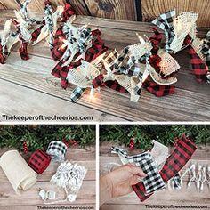 Christmas Lights Garland, Burlap Christmas, Christmas Mom, Christmas Projects, Christmas Crafts To Make, Holiday Crafts, Burlap Garland, Rag Garland, Ribbon Garland