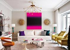 Splash of intense color in living room