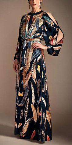 Fashion Floral Printed Split Sleeve With Belt Maxi Dress Boho Fashion, High Fashion, Fashion Beauty, Fashion Show, Womens Fashion, Fashion Design, Kaftan Designs, Estilo Hippy, Moda Boho