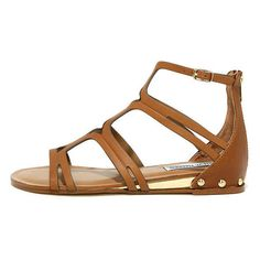 Steve Madden Delta Tan Leather Gladiator Sandals ($79) ❤ liked on Polyvore featuring shoes, sandals, brown, ankle strap wedge sandals, brown sandals, leather gladiator sandals, peep toe wedge sandals and tan wedge sandals
