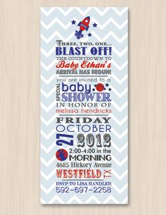 SPACE ROCKET Baby Shower Printable Invitation by PrintasticDesign