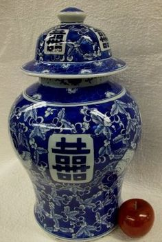 blue and white Chinese porcelain jars and temple jars