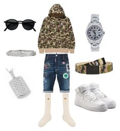 """""""Only The Strong Survive"""" by aintdatjulian on Polyvore featuring Dsquared2, A BATHING APE, Gucci, NIKE, Abuze London, Rolex, Cartier, men's fashion and menswear"""