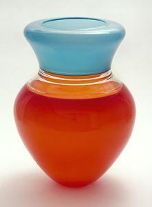 Sonja Blomdahl, Red/Clear/Aqua. Free-blown glass, incalmo technique, 1994. Montgomery Museum of Art, Montgomery, AL