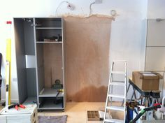 After our talented fitter removed the previous display and plastered the wall, the new display is taking shape! Taking Shape, Showroom, Loft, Desk, Display, Wall, Furniture, Home Decor, Floor Space