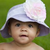 Lavender Baby Sun Hat with Pink and White Shaded Rose - Baby and Toddl