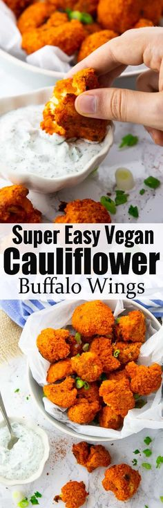 These cauliflower buffalo wings with vegan ranch dip are the perfect vegan comfort food! They make such a great snack or appetizer as well! Find more vegan recipes at veganheaven.org!