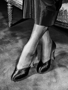 Lace Stockings with Panels That Run to Mid Calf and Enhance Slim Ankles