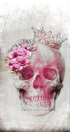 Roses and skull tattoo