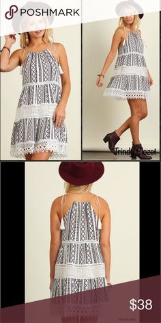"""Halter Neck Dress Lace Detailed Printed Dress. Tasseled ties. Black with (sheer) white lace & burgundy stripes. (See last pic for Detailed colors) Size Small fits 2/4. Bust is 35-36"""". Medium fits a 6/8. Bust is 37-38"""". Large fits a 10/12 and bust is 39-40"""".   [Trindy Clozet Boutique Policies]  ✅ Next Business Day Shipping (possibly same day) ✅ Retail prices are firm unless bundled.  ✅ No trades.  Find more styles on our website@  Spreesy.com/trindyclozet  Insta trindy_clozet FB TrindyClozet…"""