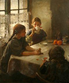 '' Three sisters ''by Mary Cassatt. Mary Stevenson Cassatt was an American painter and printmaker.